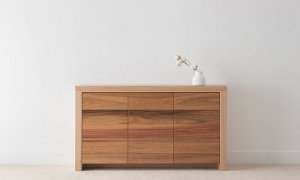 solid timber buffet with 3 flush doors and two tone timber selection on leg