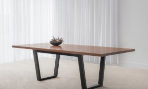 modern rectangular dining table with square end blackwood timber top and open end angled black base