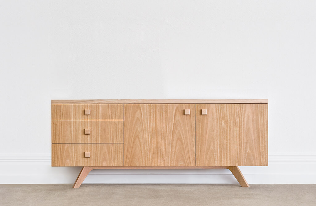 scandinavian design mountain ash timber with set-in angled legs and square wooden handles