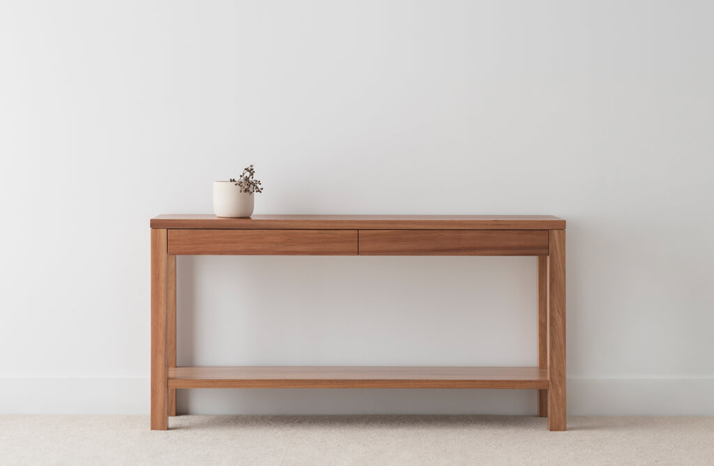 contemporary timber hall table made in Blackwood timber with 2 drawers and lower shelf