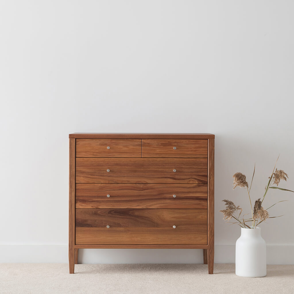 bedroom lowboy made in blackwood timber on slim leg with 5 drawers