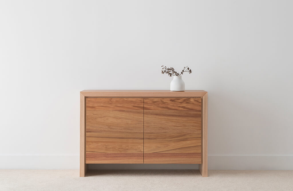 small timber buffet with timber border and 2 doors