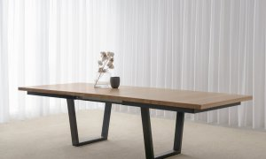 extendable dining table in Adelaide made from Mountain Ash timber with black open base and square corners