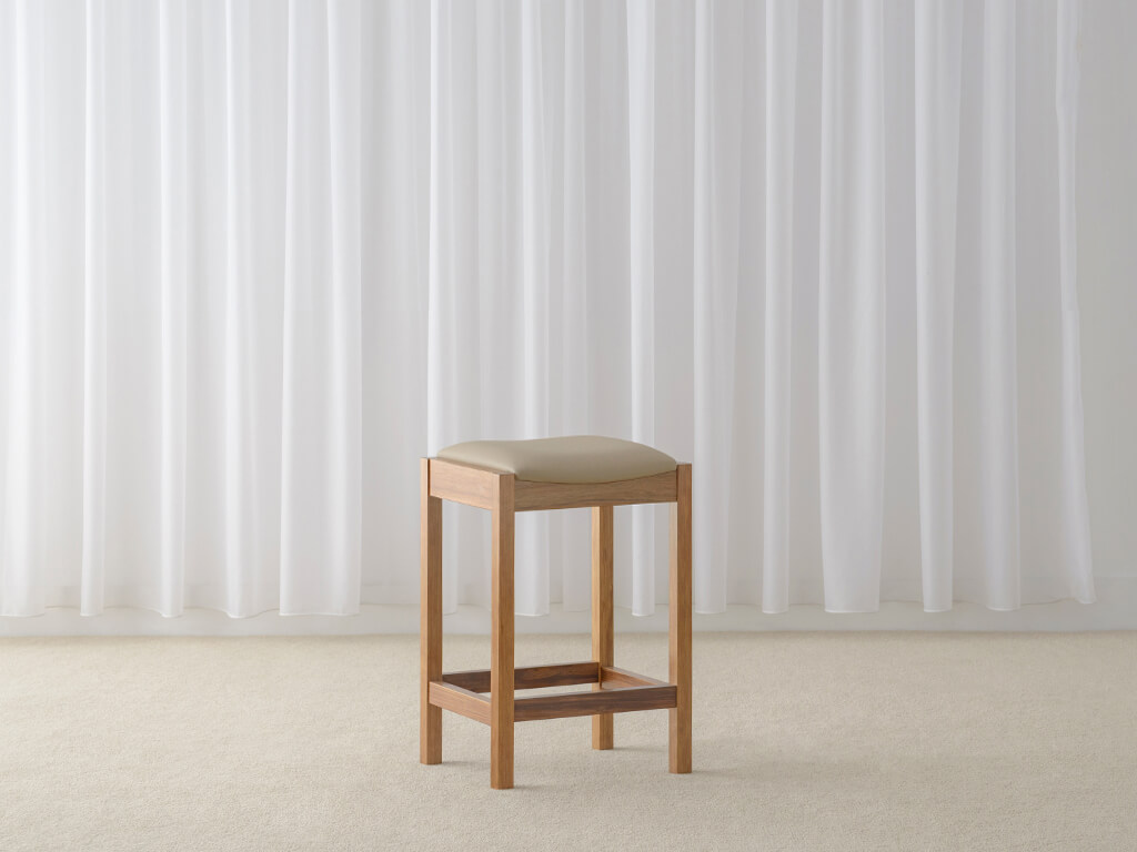 low back leather stool made in timber