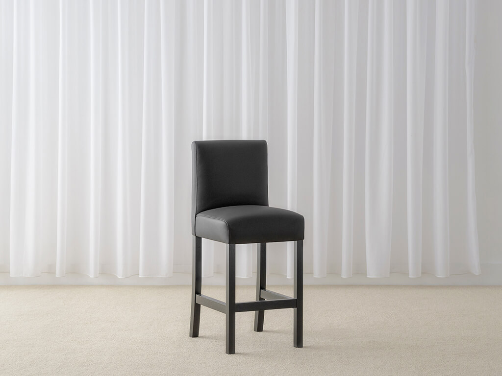black leather bar stool with black legs and high back support