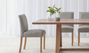 fabric dining chair fully upholstered in grey fabric with timber legs