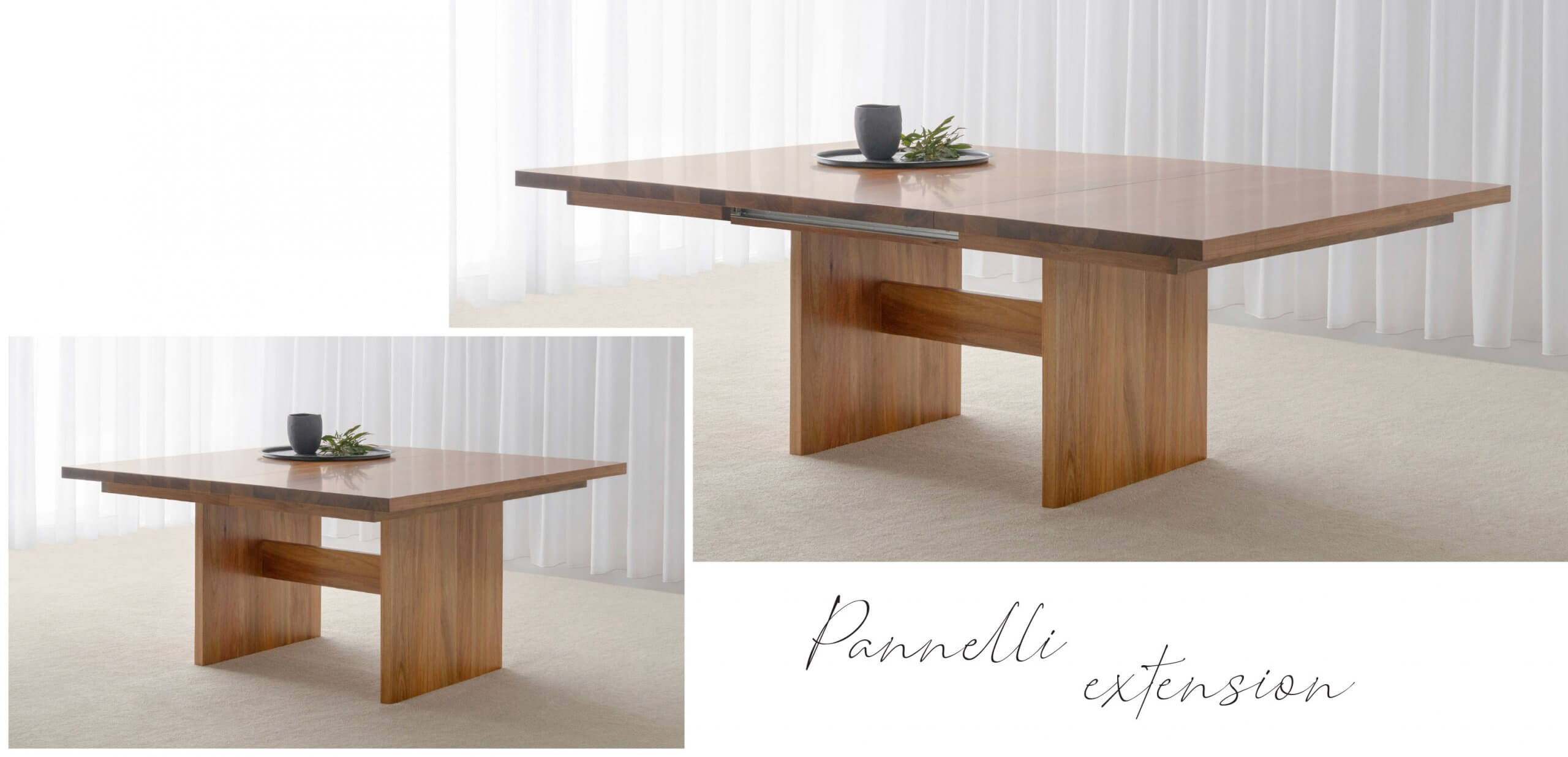 large extendable dining table made in Blackwood timber