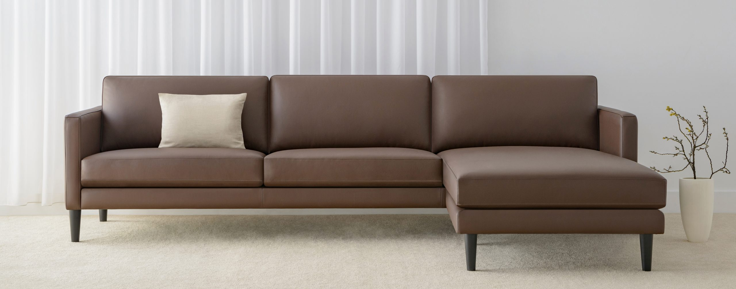 leather modular lounge with chaise made in Adelaide
