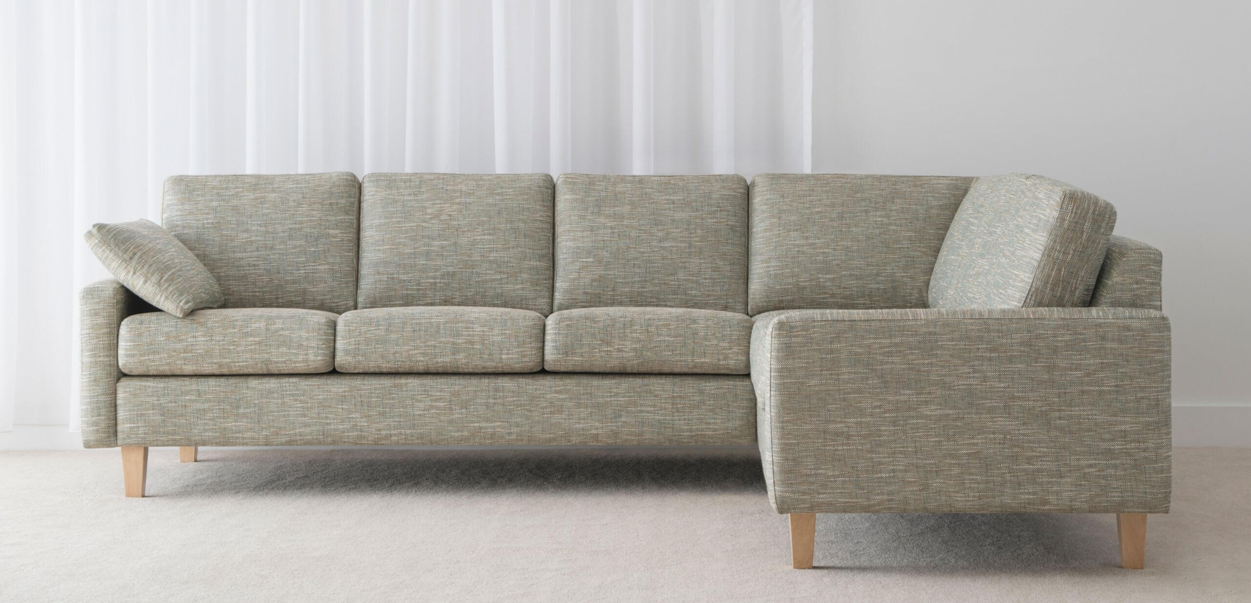 comfortable fabric modular sofa with arm support and individual seat cushions