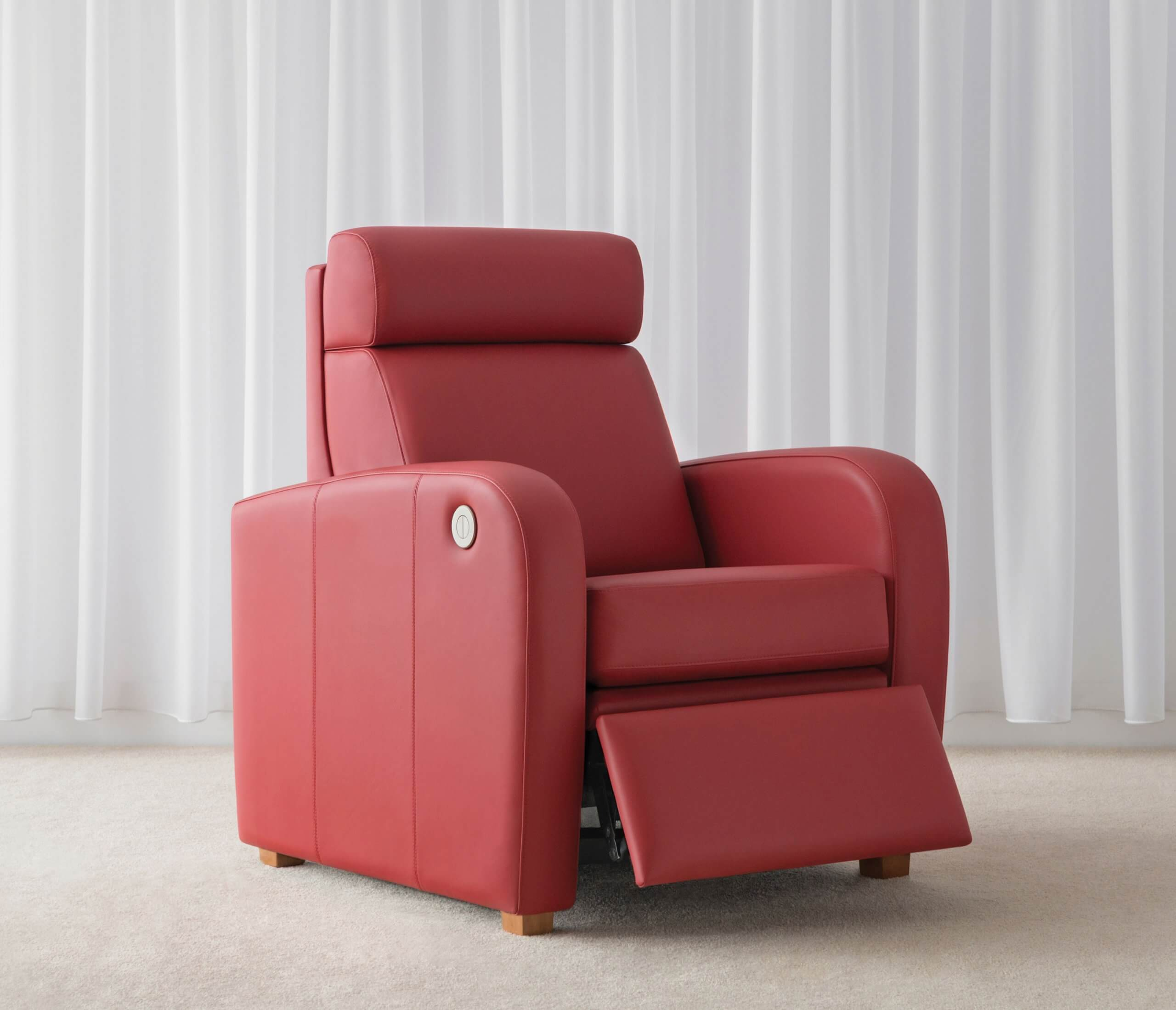 red leather arm chair with electric cordless recliner