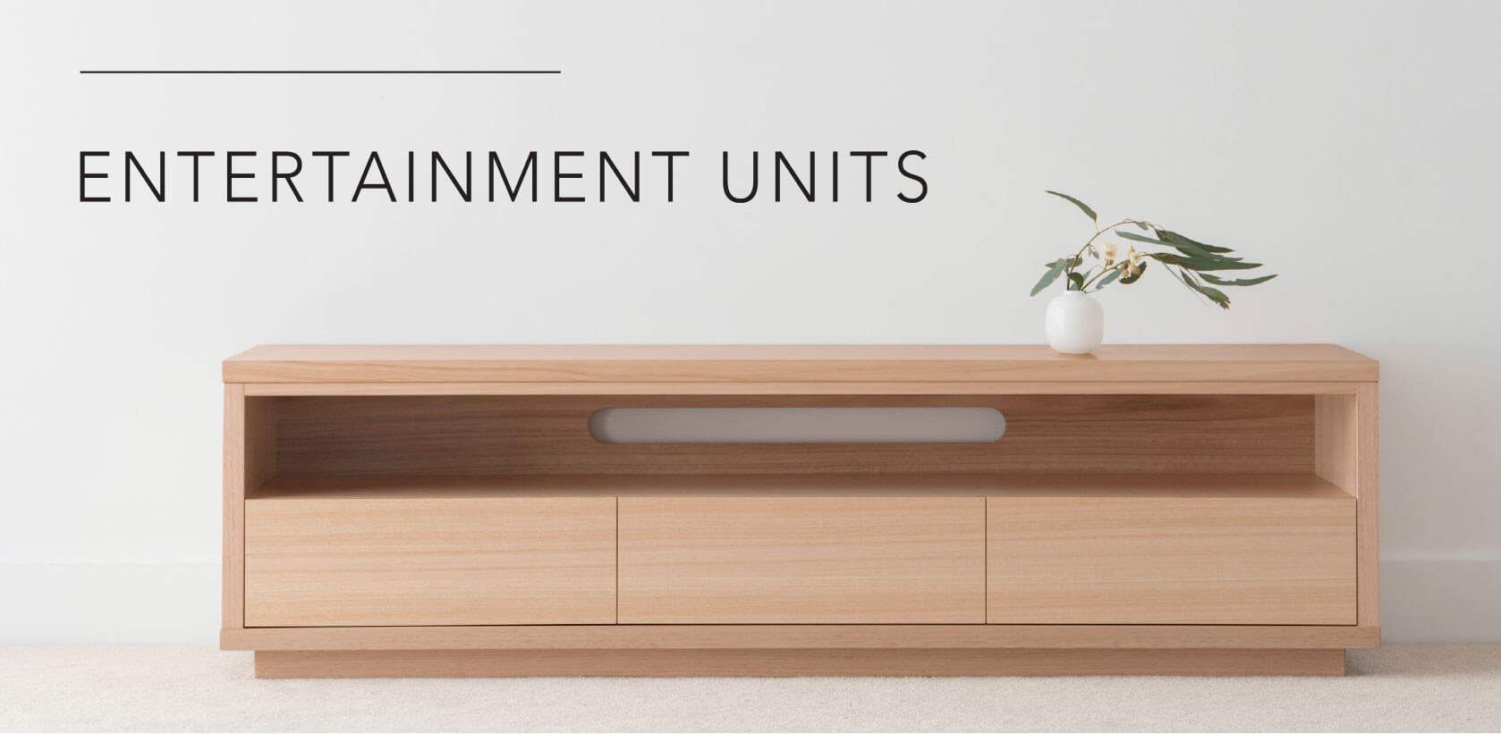 custom tv entertainment unit crafted in mountain ash timber with 3 drawers and open shelf