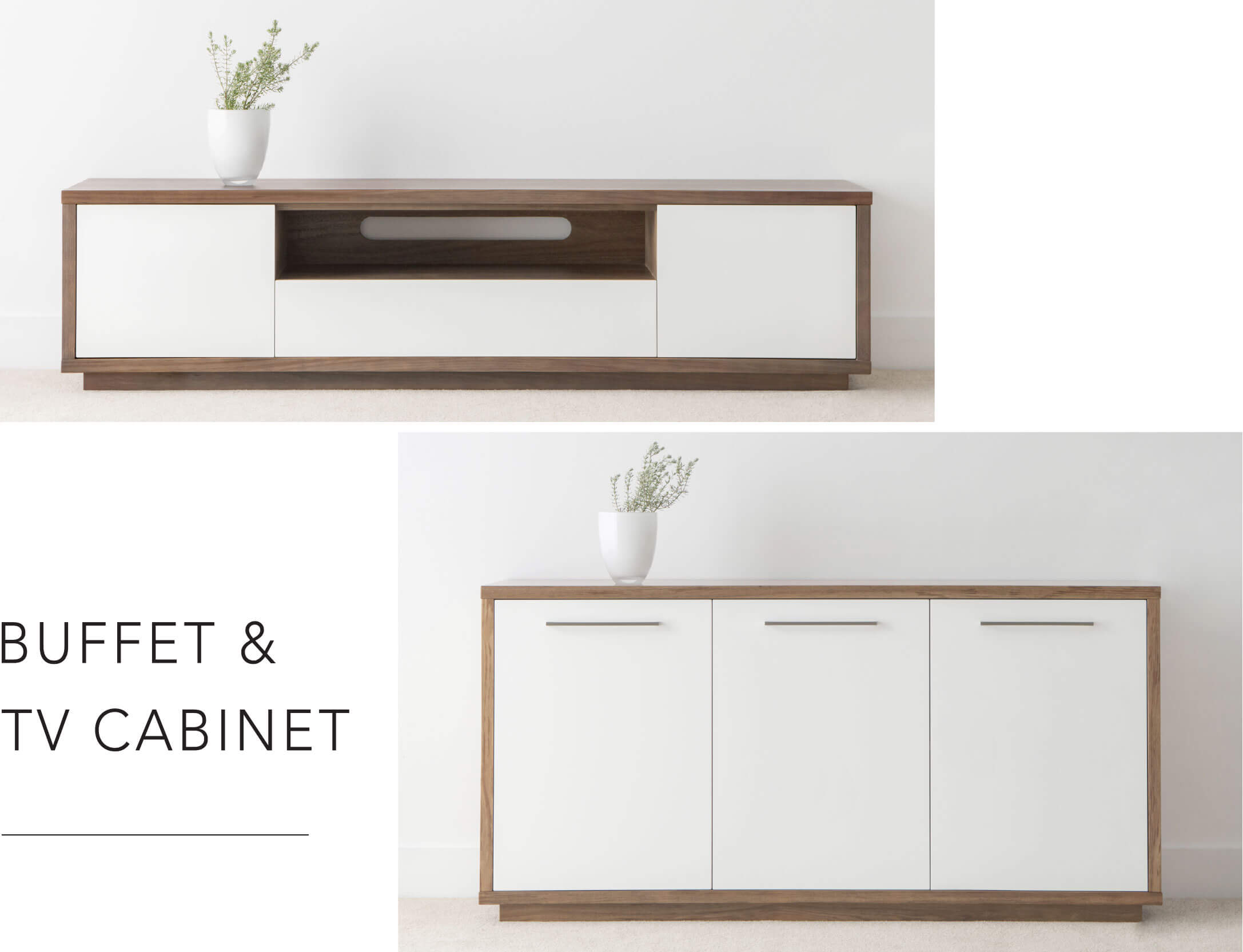 modern buffet and tv cabinet setting crafted from solid timber with white accents