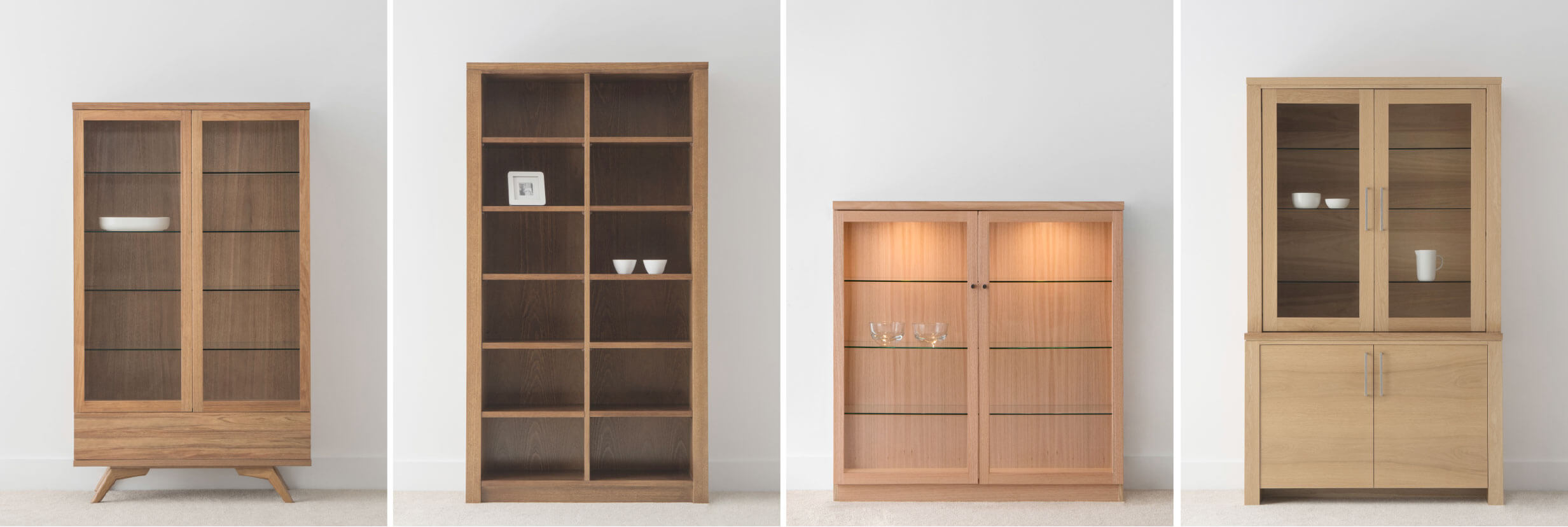 timber display cabinets with different design options
