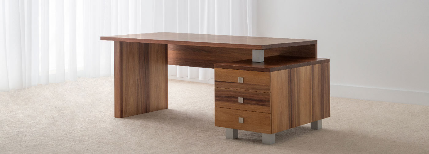 modern solid timber office desk with drawers and modesty panel