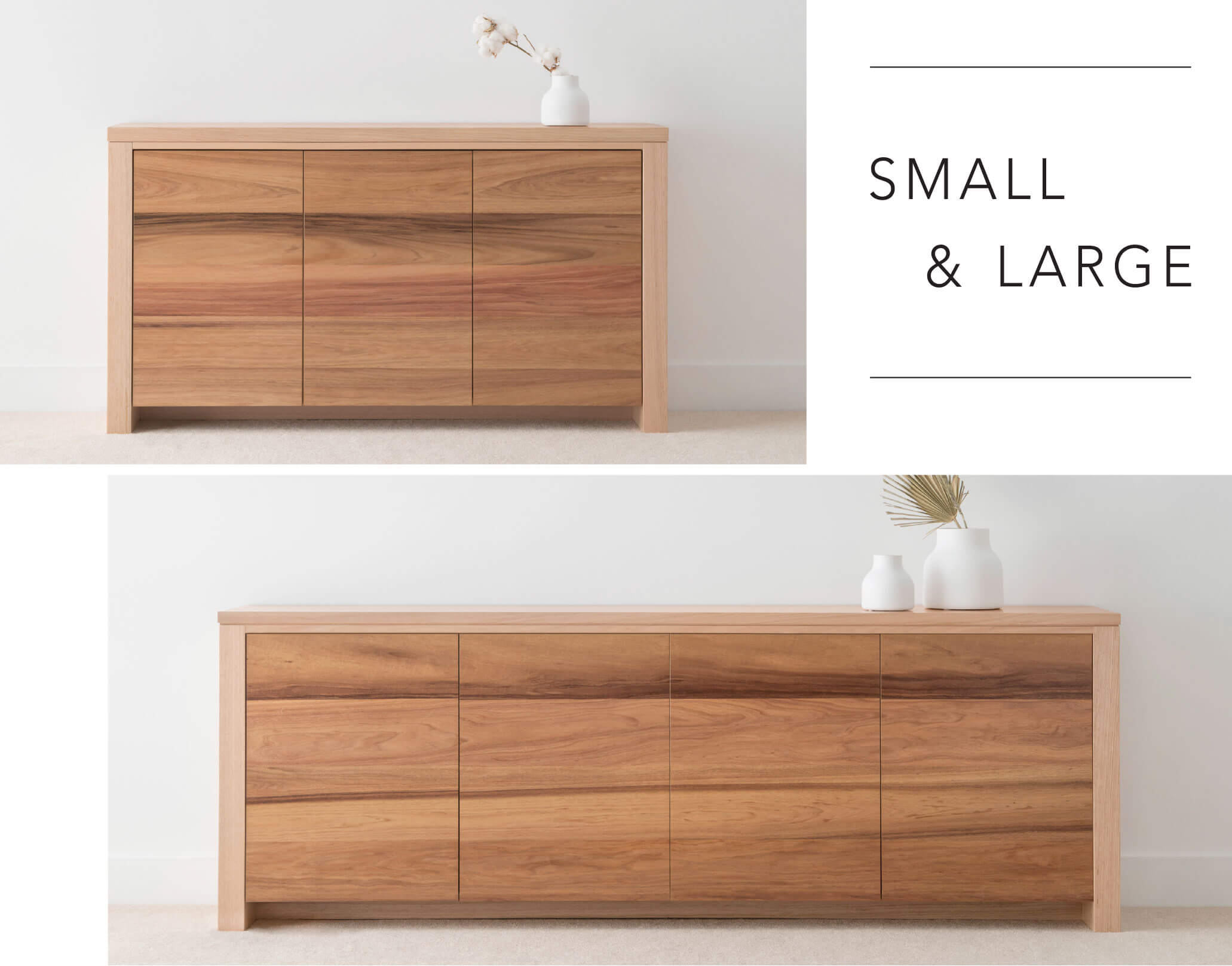 small timber buffet and large timber buffet crafted from hardwood timber