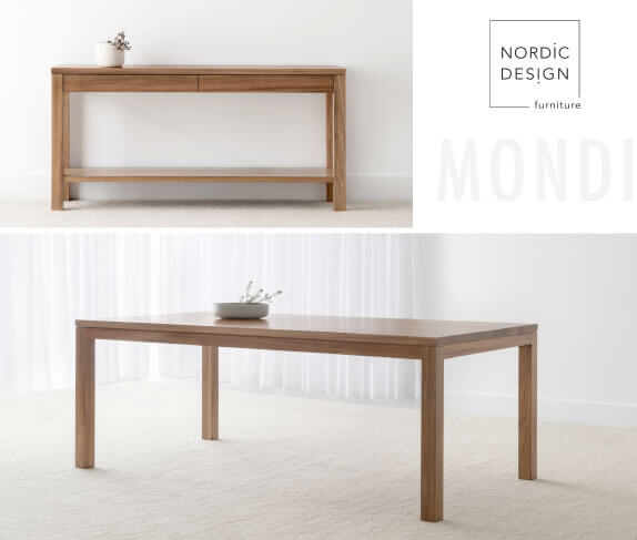 matching console table and dining table design made from Blackwood timber