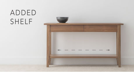 console table with storage drawers and low shelf