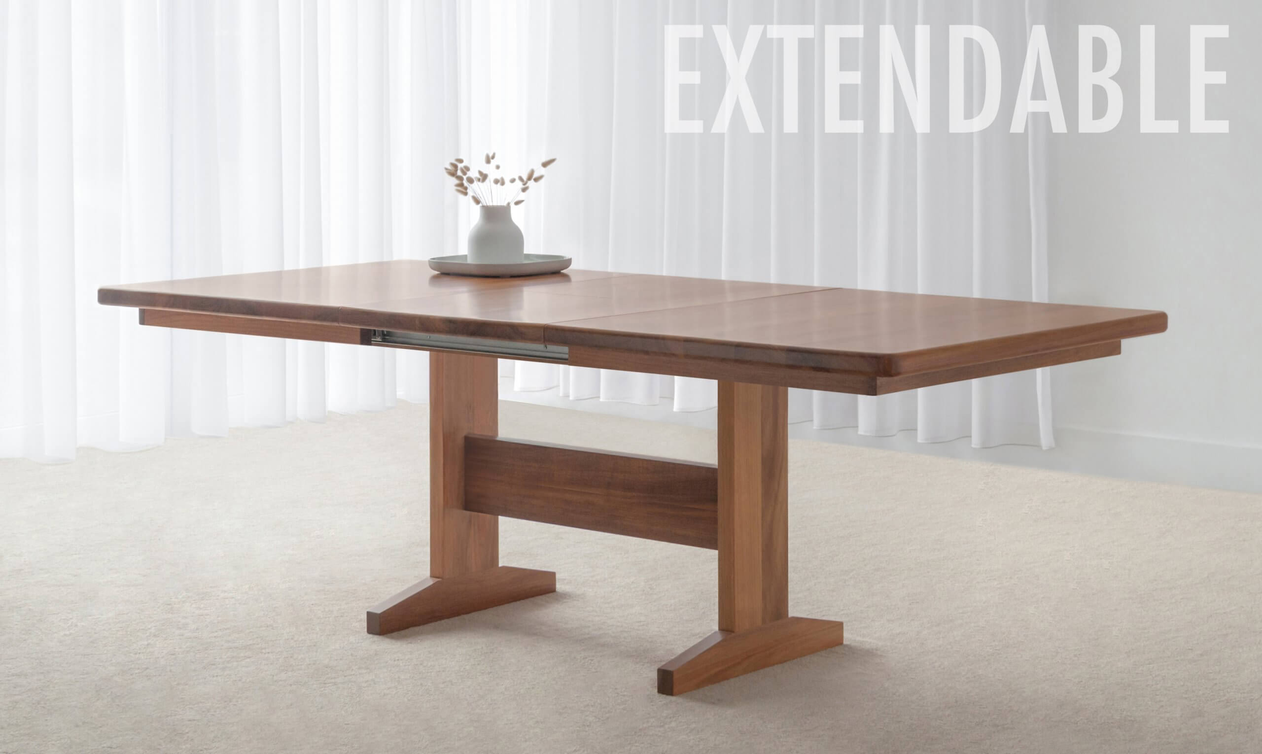 Extendable Dining Table crafted in hardwood timber