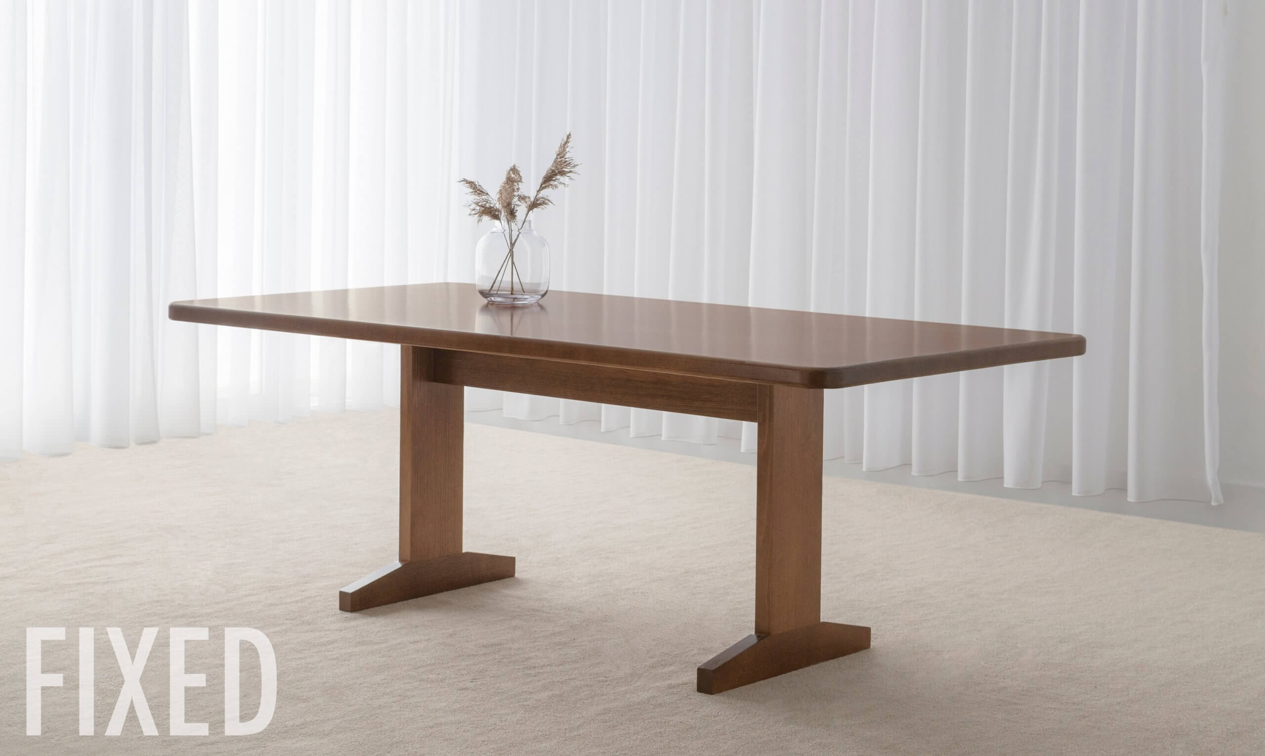 Fixed dining table crafted in hardwood timber with traditional design