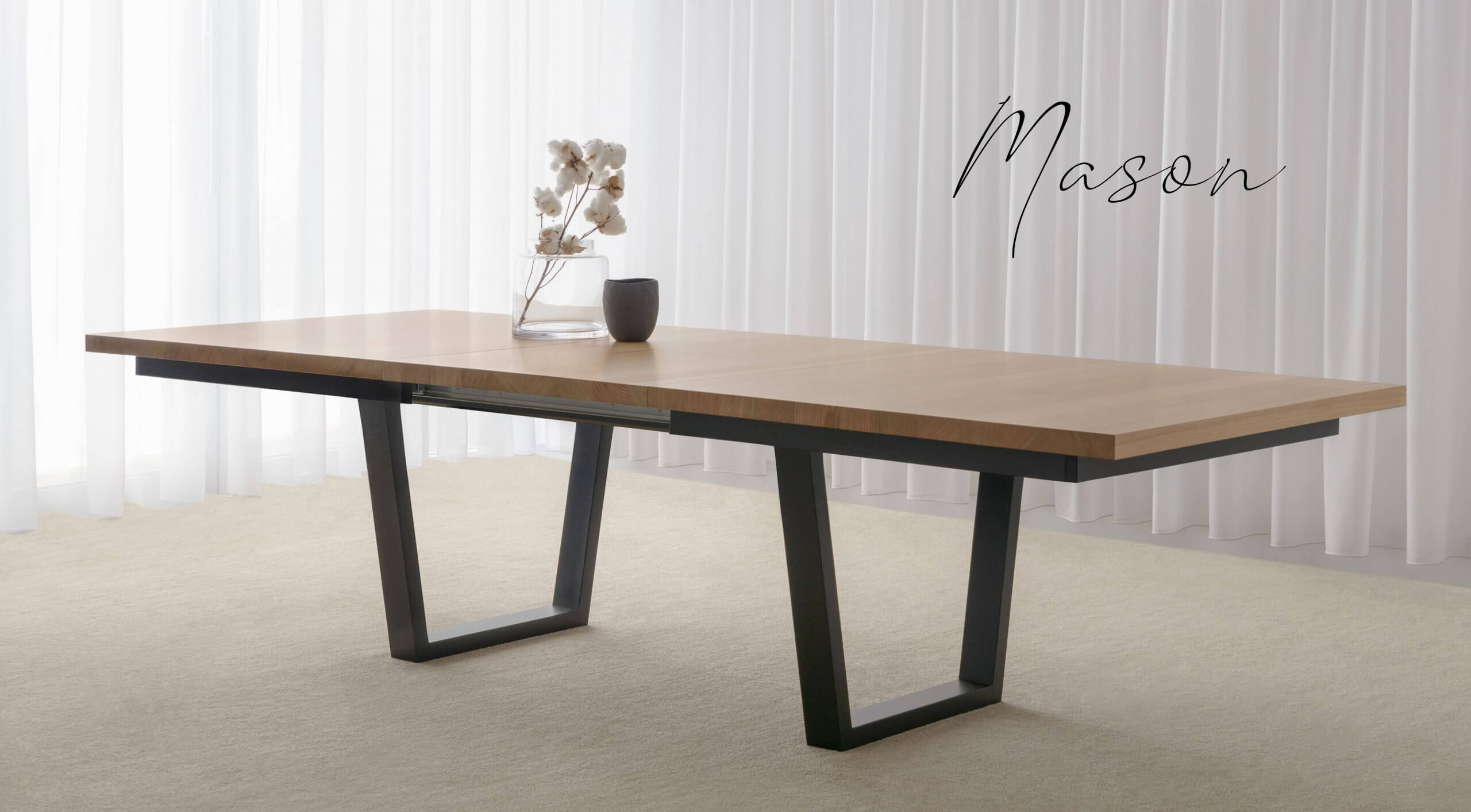 Modern Extendable Dining Table open