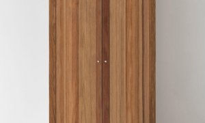 free standing wardrobe made from solid timber with 2 doors and internal shelves with hanging section