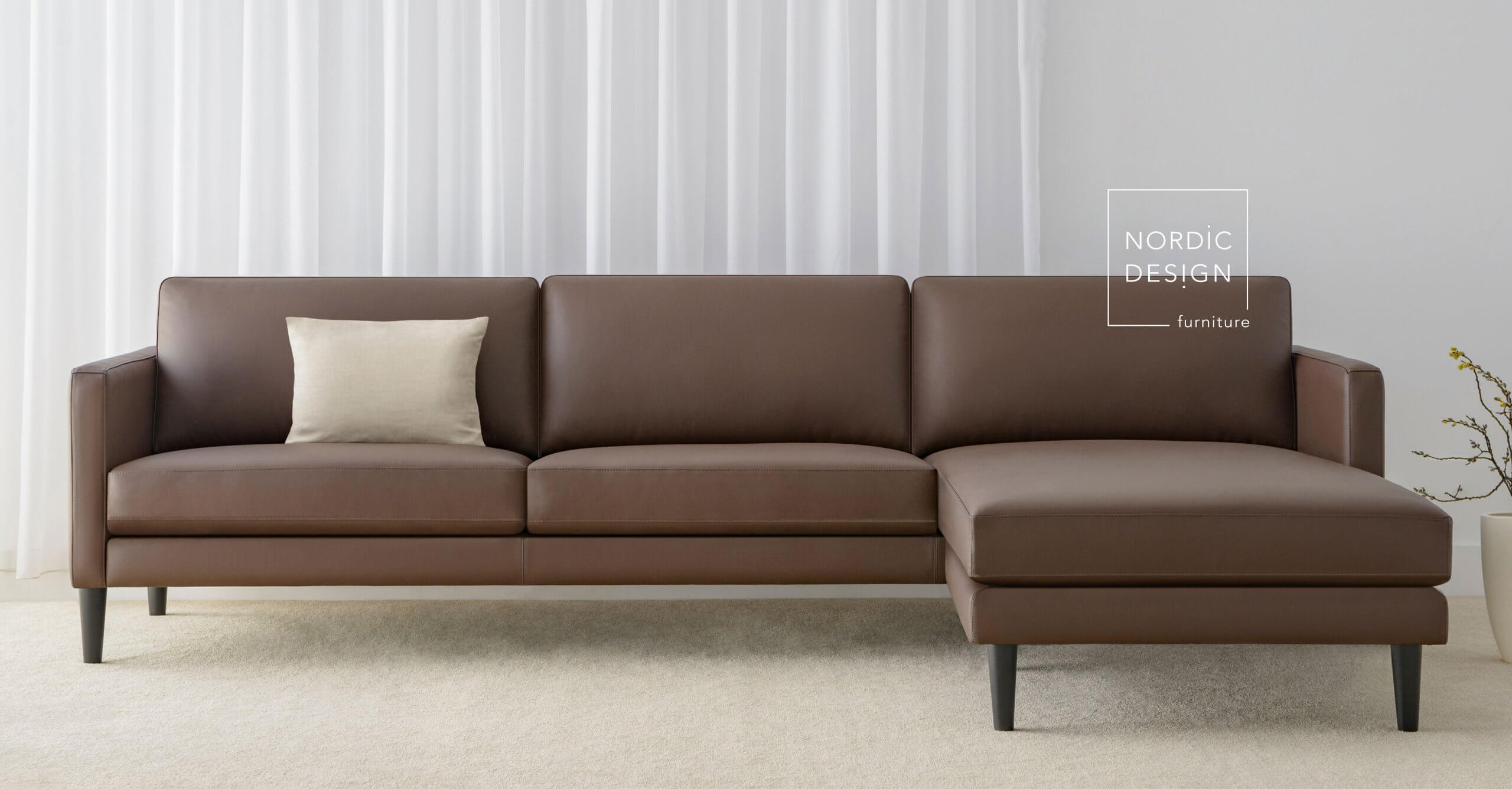 leather lounge with chaise made in Adelaide