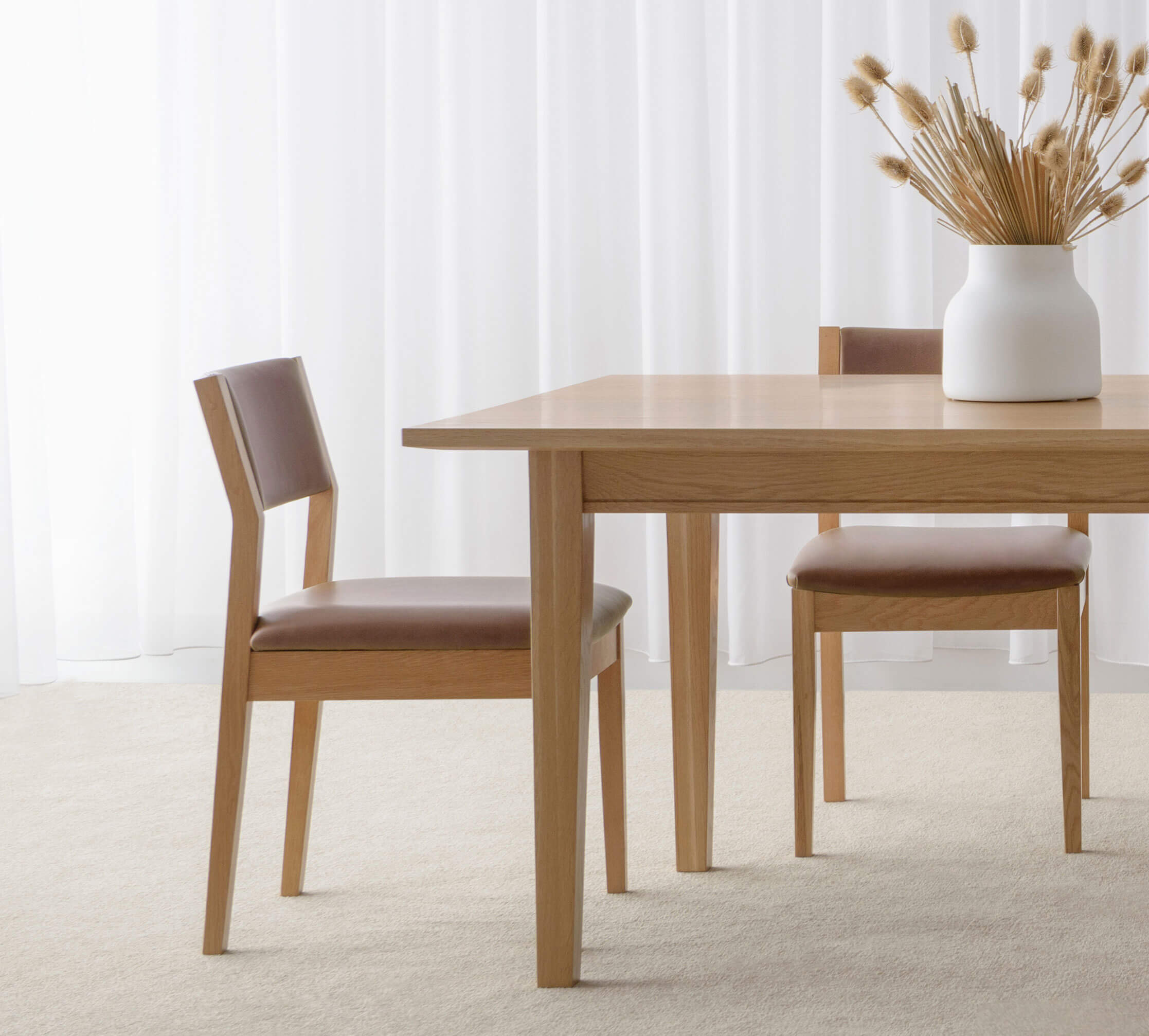 low back timber dining chair with leather seat and back support