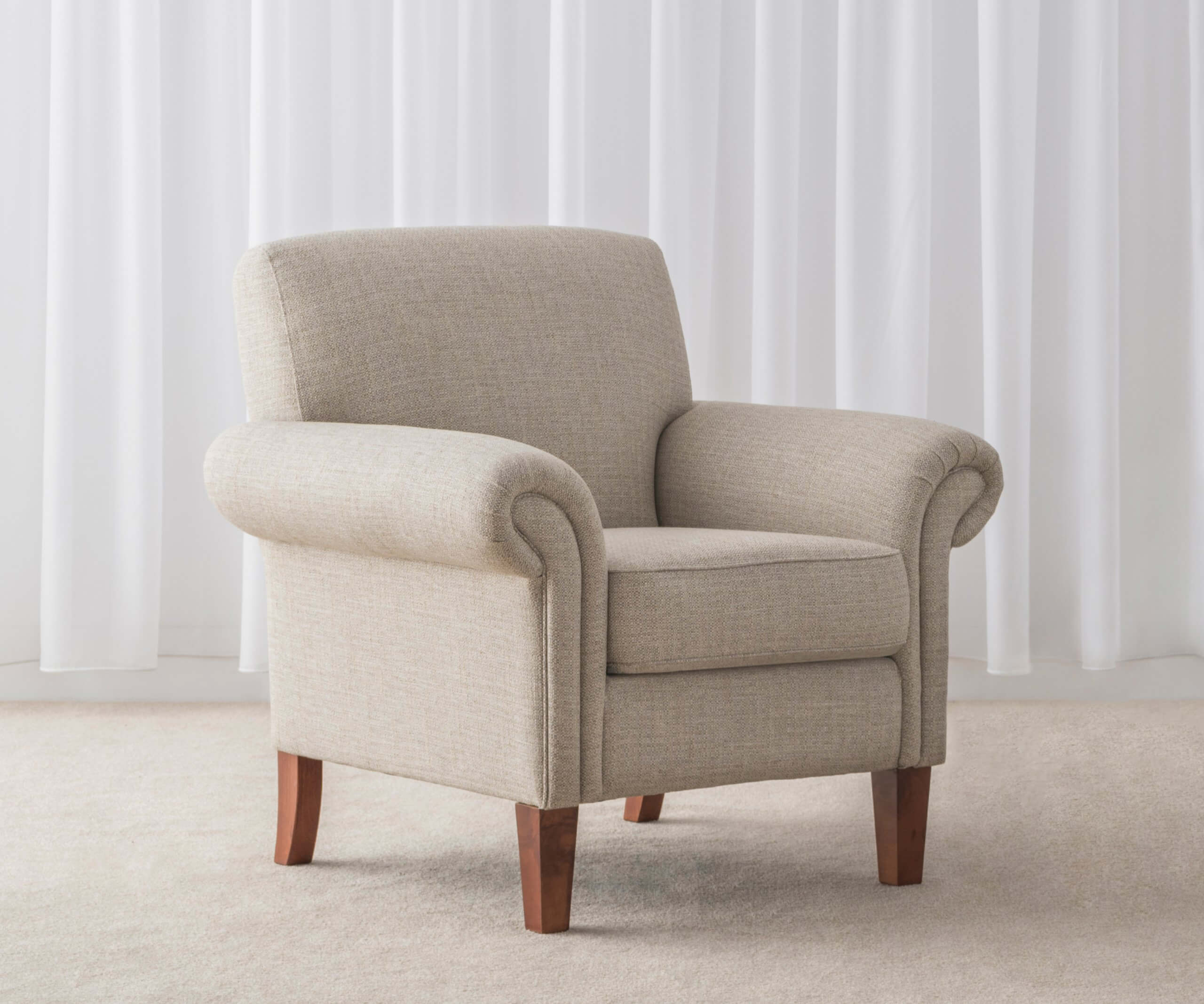 traditional rolled arm lounge chair in fabric