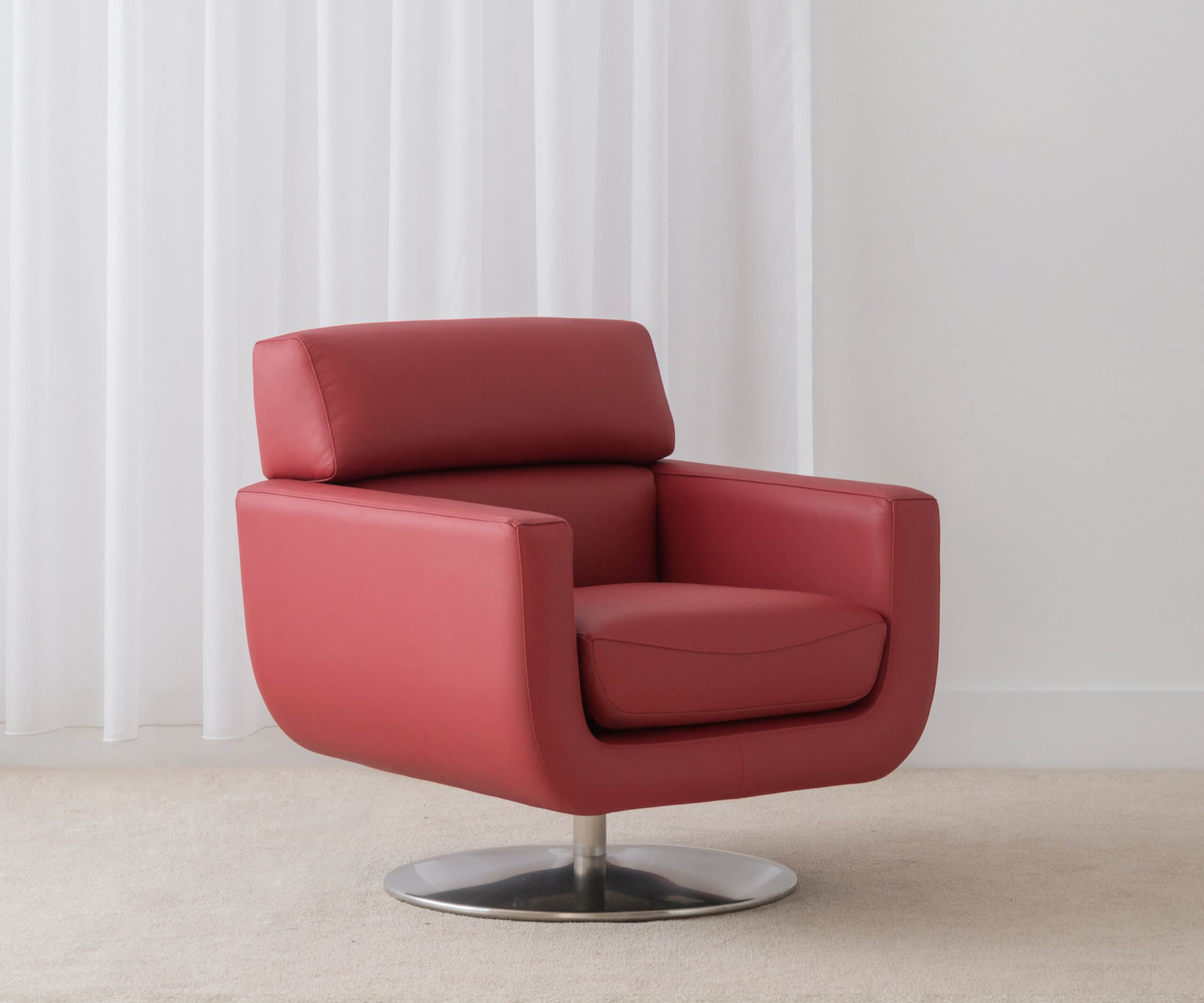 red leather swivel chair made in Adelaide