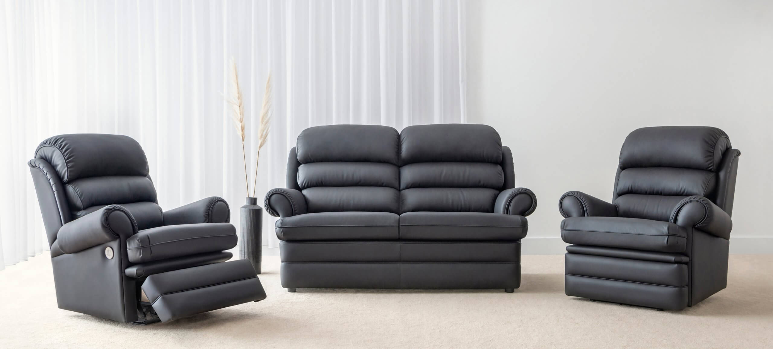 Leather Lounge Suite with electric recliners