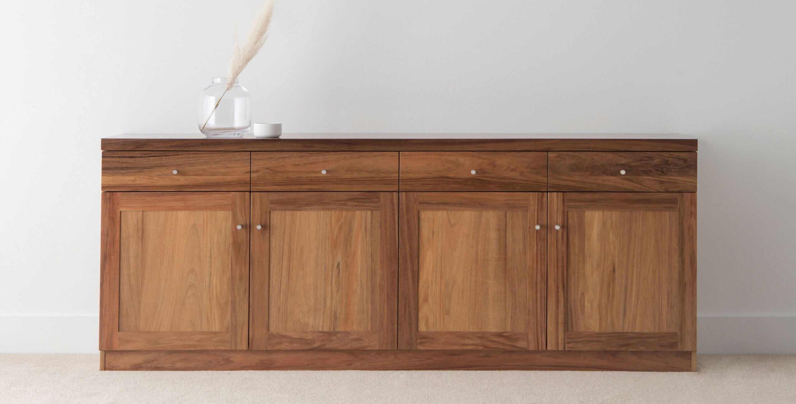 dining room buffet cabinet with four doors and four drawers made from solid timber