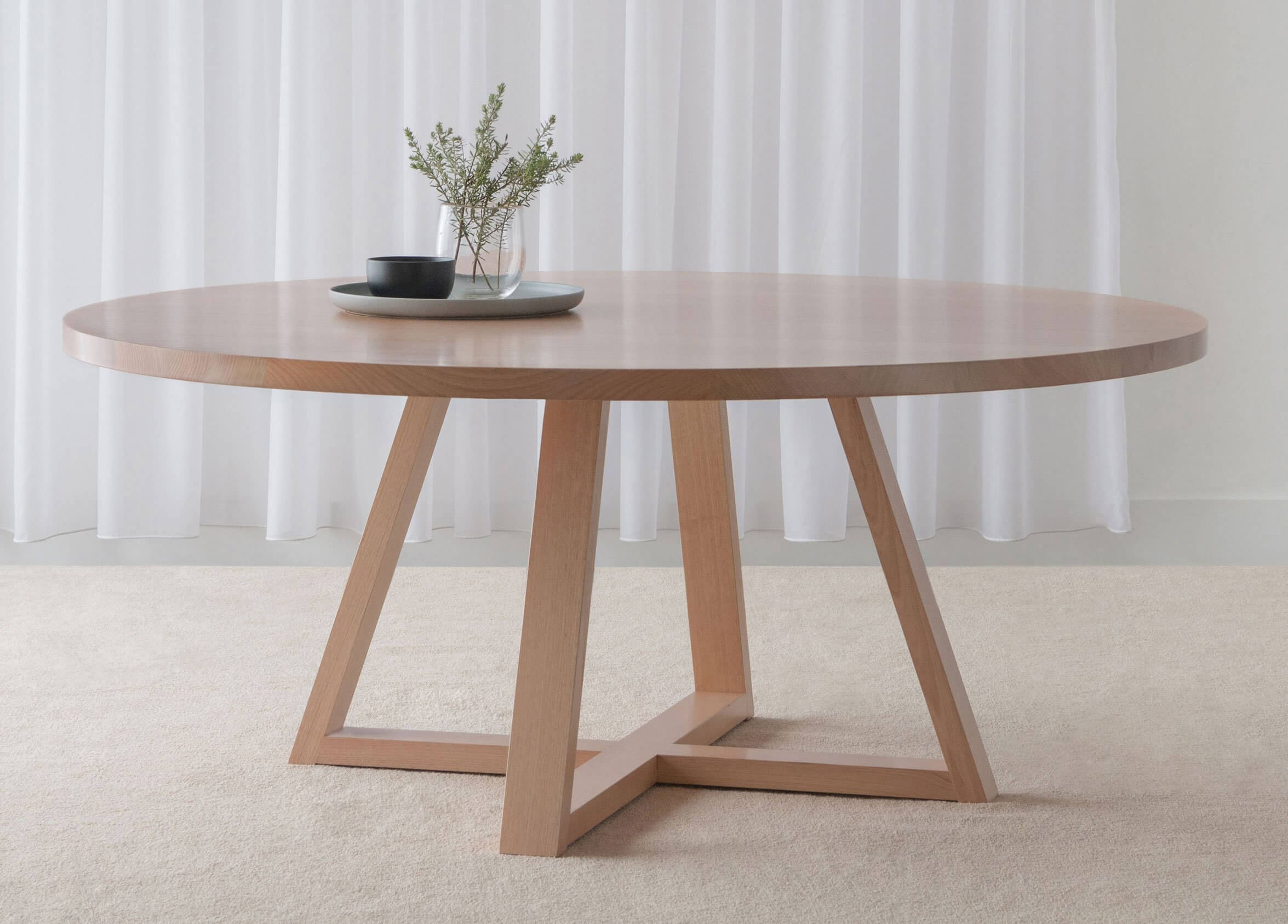 round timber dining table made in mountain ash timber