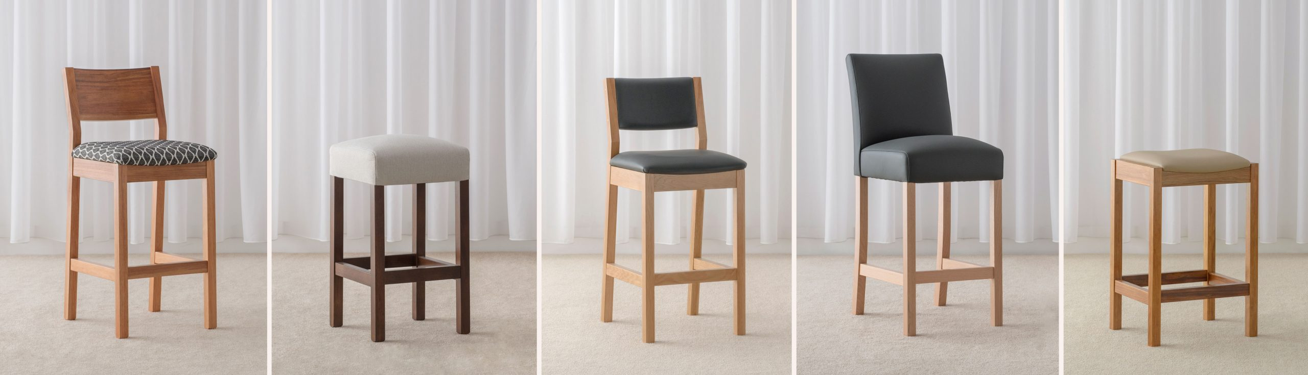 locally made bar stools using hardwood timber