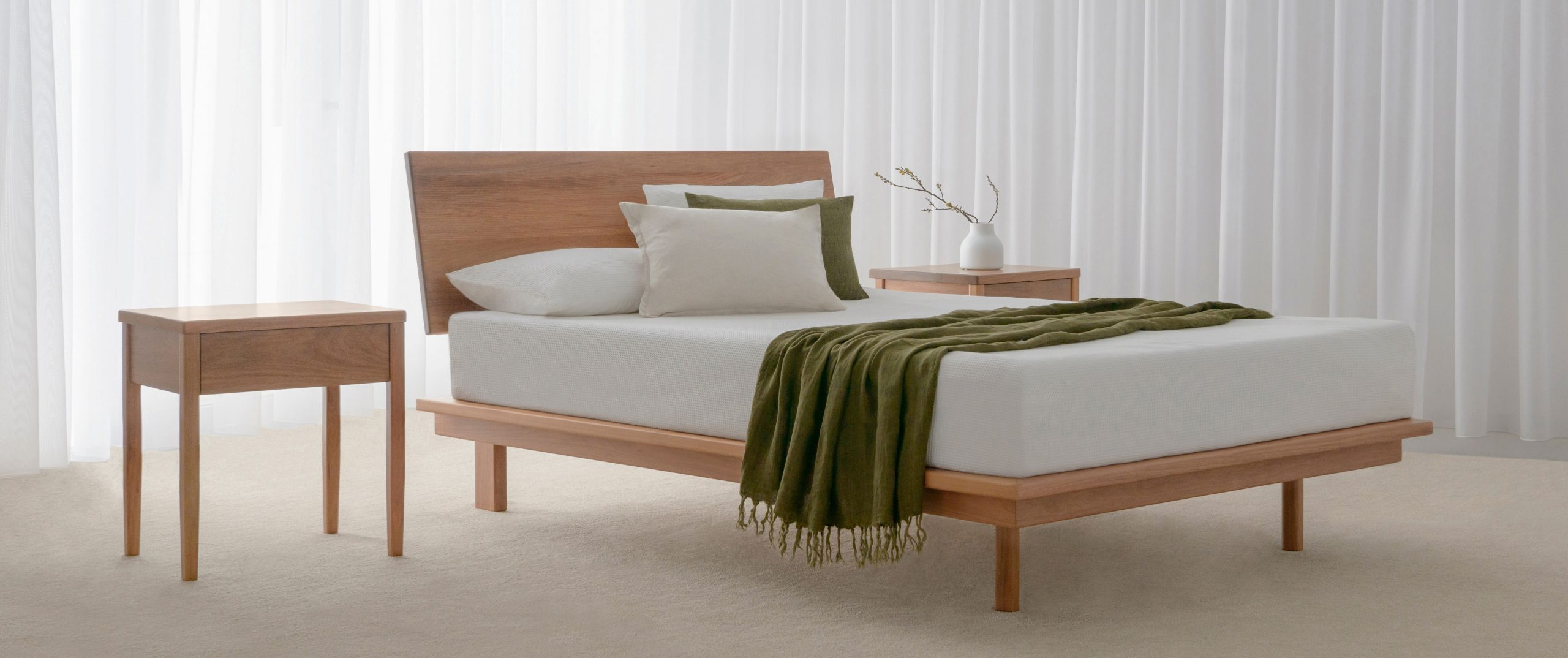 timber bed frame made in Adelaide with matching bedside tables