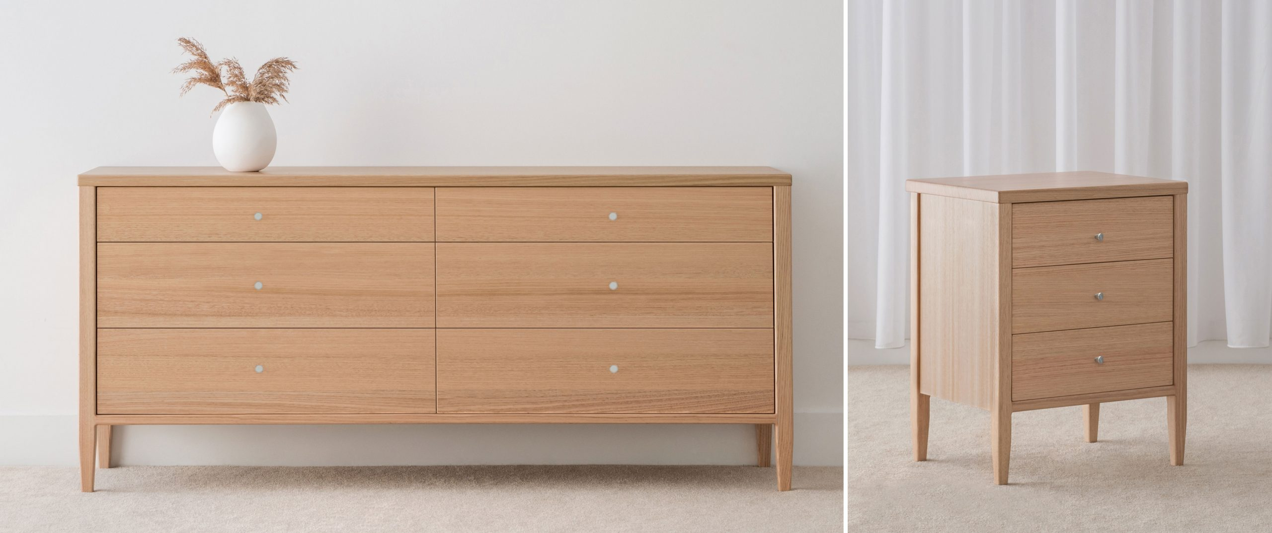 Oak Chest of Drawers and 3 Drawer Bedside Table made in Adelaide